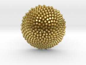 Fibonacci Sunflower Pendant in Natural Brass
