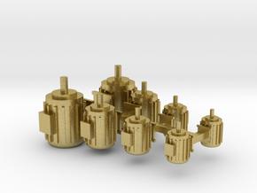 Elektromotoren Größe A-D 8erSet 1:120 in Natural Brass