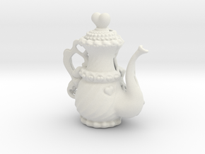 Elegant Ms Hearts Tea Pot in White Natural Versatile Plastic