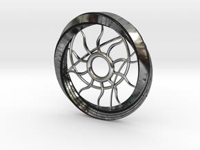 Tangential Arc Pendant Wheel in Antique Silver