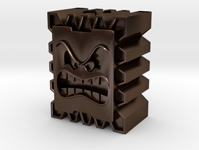 Thwomp Block Bead in Polished Bronze Steel