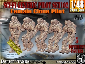 1/48 Sci-Fi Generic Female Pilot Set102 in Smooth Fine Detail Plastic
