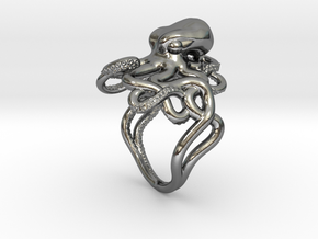 Octopus Ring in Polished Silver