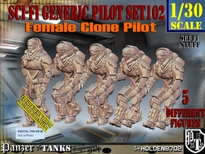1/30 Sci-Fi Generic Female Pilot Set102 in White Natural Versatile Plastic