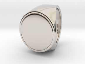 Signe  -  Unique US 6 Small Band Signet Ring in Rhodium Plated Brass