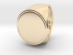 Signe  -  Unique US 7 Small Band Signet Ring in 14k Gold Plated Brass