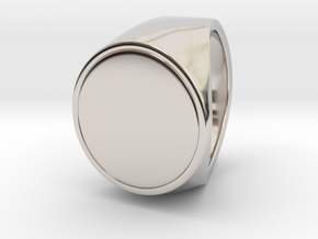 Signe  -  Unique US 10 Small Band Signet Ring in Rhodium Plated Brass