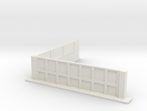 Low Wall with Right Angle 28mm in White Natural Versatile Plastic