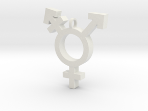 Transgender Symbol in White Natural Versatile Plastic