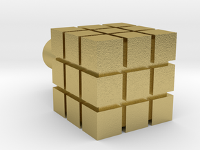 Rubik's Cube For Lego Characters in Natural Brass