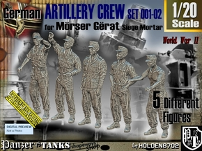 1/20 German Artillery Crew Set001-02 in White Natural Versatile Plastic