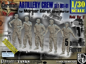 1/30 German Artillery Crew Set001-01 in White Natural Versatile Plastic