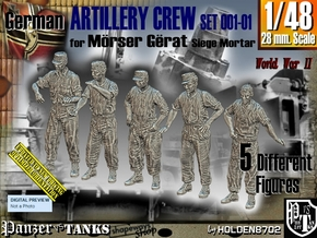 1/48 German Artillery Crew Set001-01 in Smooth Fine Detail Plastic