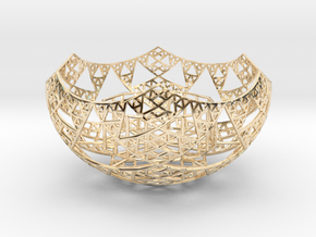 Fractal Tealight Holder in 14k Gold Plated Brass