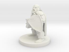 Dwarf Fighter - Hammer & Shield in White Natural Versatile Plastic