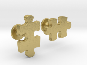 puzzle piece cufflinks in Natural Brass
