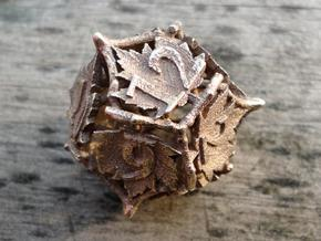 Botanical Die12 (Maple) in Polished Bronzed Silver Steel
