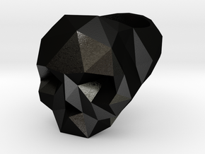 Low Poly Skull Ring in Matte Black Steel