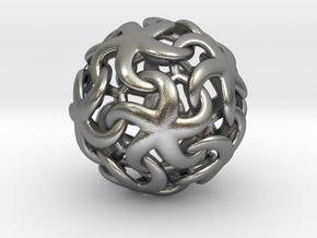 Asteroidea Pendant - Starfish Sphere in Natural Silver: Small