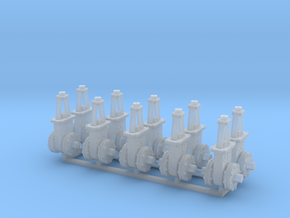 O scale Gate Valve - 6in 4C V3 10ea in Smooth Fine Detail Plastic