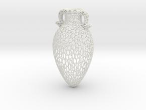 Voronoi Amphora in White Natural Versatile Plastic