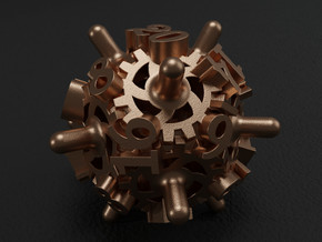 Clockwork Gears Dice in Polished Bronze Steel: d20