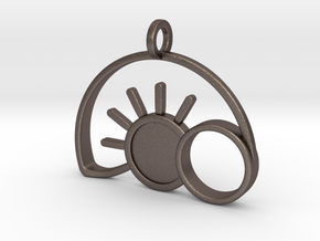 Empty Tomb Eclipse Pendant in Polished Bronzed-Silver Steel
