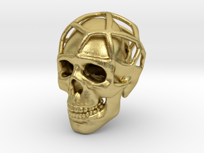 Double Skull Pendant in Natural Brass