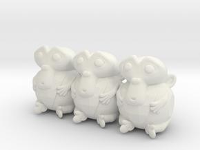 Triple Monkey Colored in White Natural Versatile Plastic