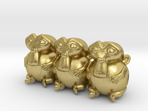 Triple Monkey Colored in Natural Brass