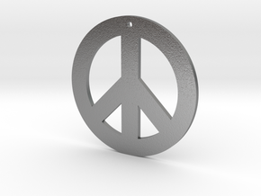 peace symbol standard size in Natural Silver