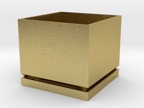 Mini 5cm x 5cm Destkop Herb/Spice Planter in Natural Brass