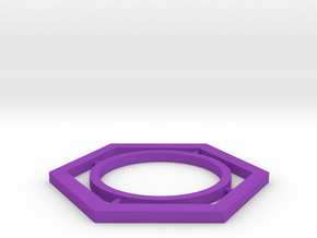 hexagon in Purple Processed Versatile Plastic: Medium