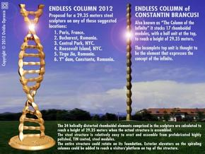 DNA Endless Column 2012 - Homage to Brancusi in Polished Gold Steel