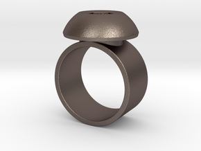 Hex Head Ring in Polished Bronzed-Silver Steel: 7 / 54