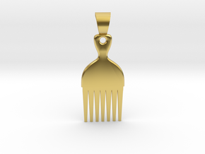 Afro comb [pendant] in Polished Brass
