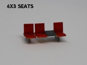 N Scale Waiting Room Seats 4x3 in Smooth Fine Detail Plastic