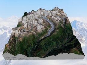 Swiss Alps, Jungfrau-Aletsch Map in Natural Full Color Sandstone