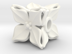 Floral Bead/Charm - Cube in White Processed Versatile Plastic