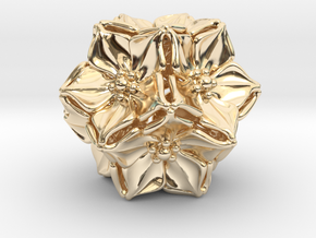 Floral Bead/Charm - Dodecahedron in 14k Gold Plated Brass