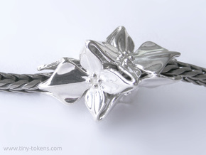 Floral Bead / Charm  in Polished Silver