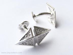 Zendikar Hedron Cufflinks in Polished Silver
