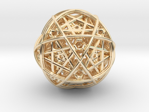 Hedron star inside sphere blue black in 14K Yellow Gold