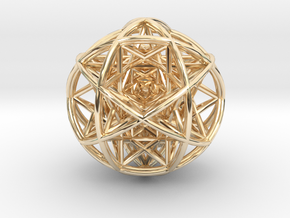 Scaled arrayed star hedron inside sphere  in 14K Yellow Gold