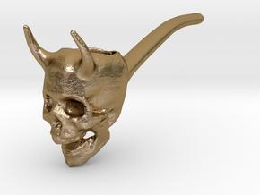 devil skull pipe 2 in Polished Gold Steel
