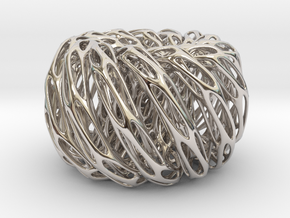 Perforated Twisted Double torus in Rhodium Plated Brass