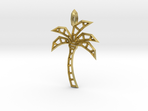 Wireframe palm tree pendant in Natural Brass