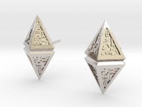 Hedron Studs  in Rhodium Plated Brass