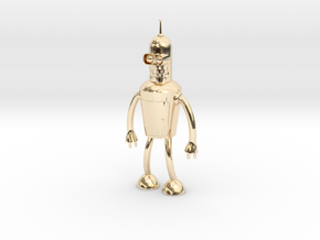 Futurama Bender Figure in 14k Gold Plated Brass: Small