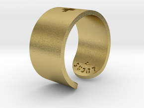 Adjustable Plus Ring in Natural Brass